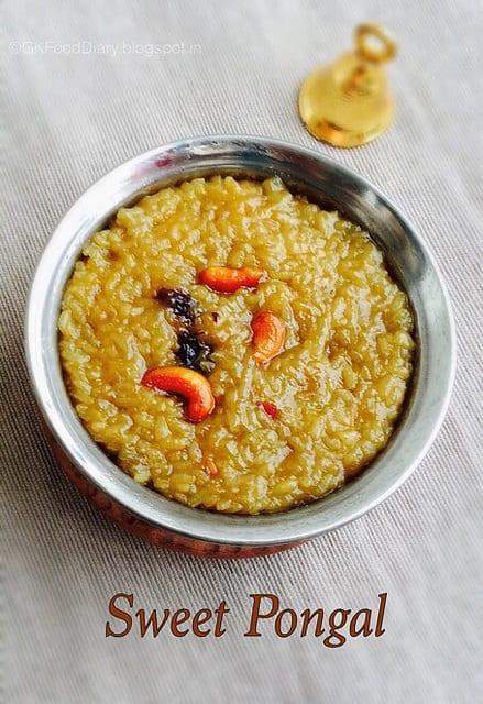 Sakkarai Pongal Recipe   Sweet Pongal Recipe 1