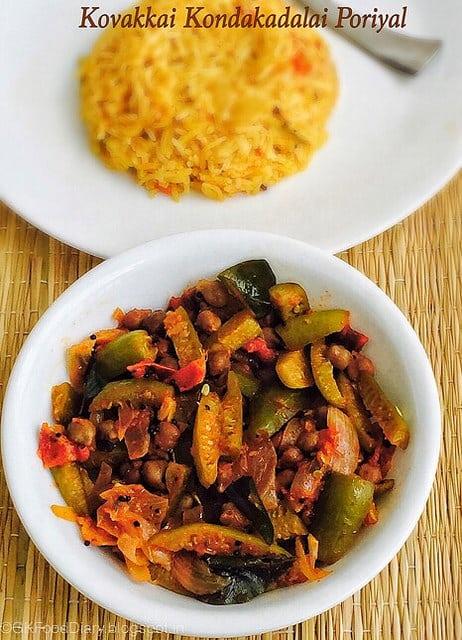 Kovakkai Kondakadalai Poriyal Recipe - Tindora fry with Black Channa |Stir fry Recipes 1