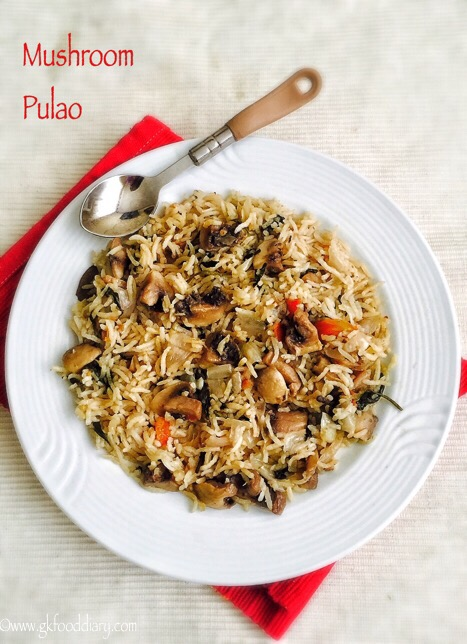 Mushroom Pulao Recipe for Toddlers and Kids 1