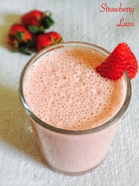 Strawberry Lassi Recipe for Babies, Toddlers and Kids 1