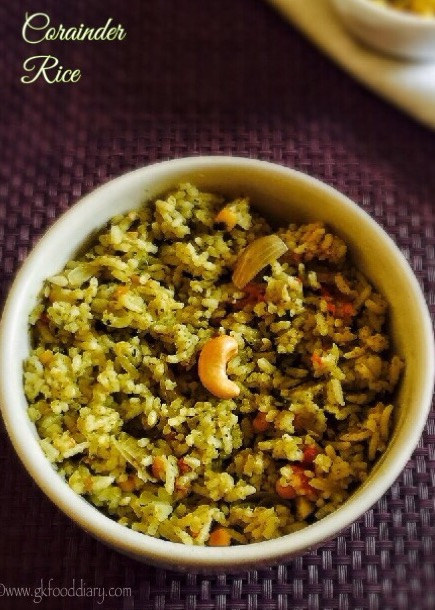 Corainder Rice Recipe for Toddlers and Kids 1