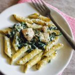 Spinach Mushroom Pasta Recipe for Toddlers and Kids (with homemade cream cheese)
