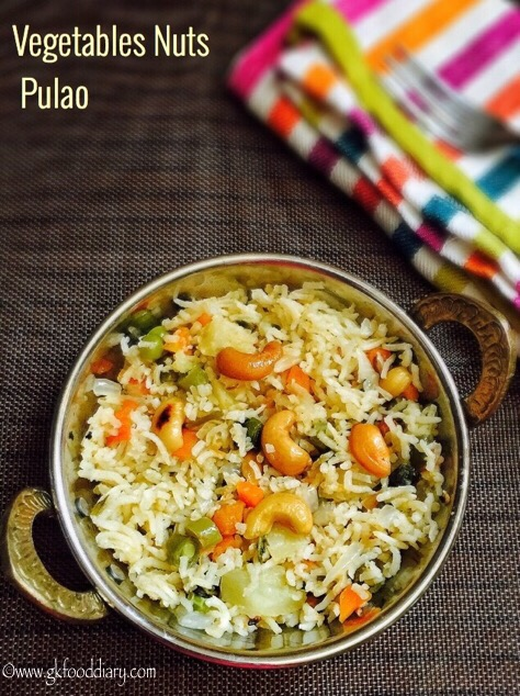 Vegetables Nuts Pulao Recipe for Toddlers ,Kids