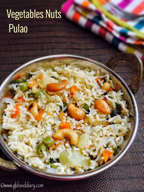 Vegetables Nuts Pulao Recipe for Toddlers and Kids