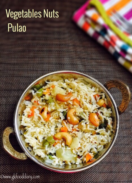 Vegetables Nuts Pulao Recipe for Toddlers