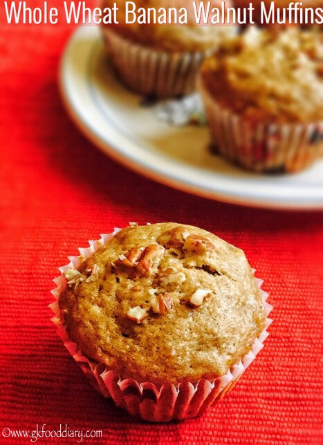 Whole Wheat Banana Walnut Muffins Recipe for Toddlers and Kids 1