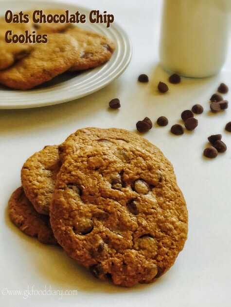 Oats Chocolate Chip Cookies Recipe for Toddlers and Kids
