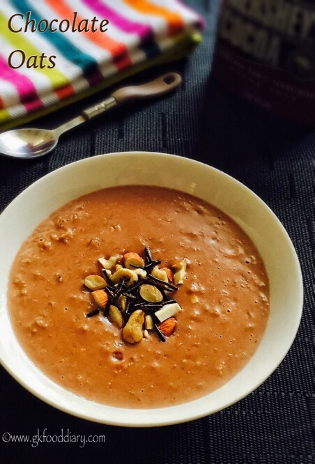 Chocolate Oats Recipe for Babies, Toddlers and Kids