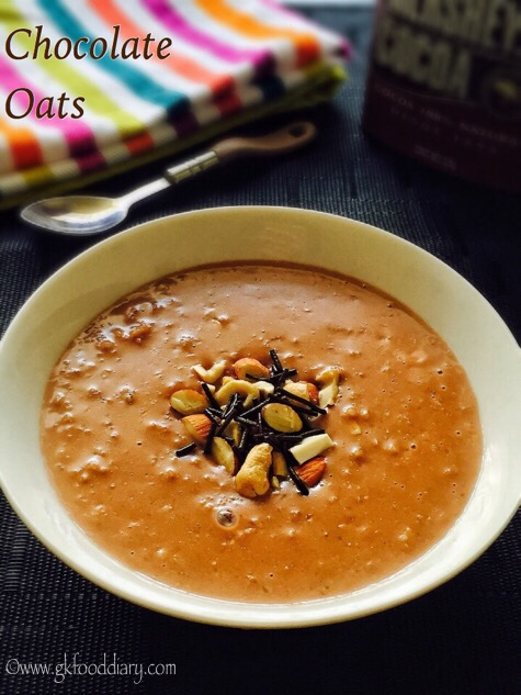 Chocolate Oats Recipe for Babies, Toddlers