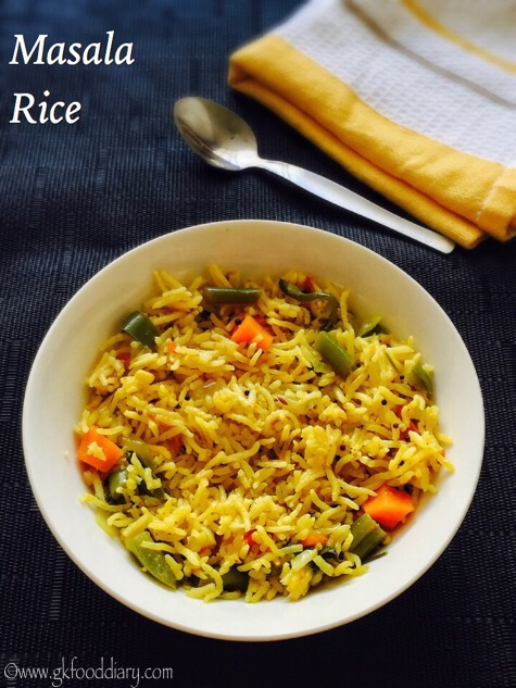 Masala Rice Recipe for Toddlers