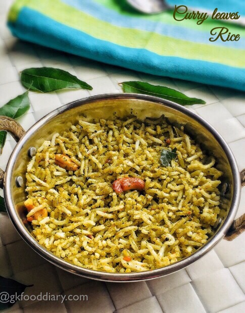 Curry Leaves Rice Recipe for toddlers