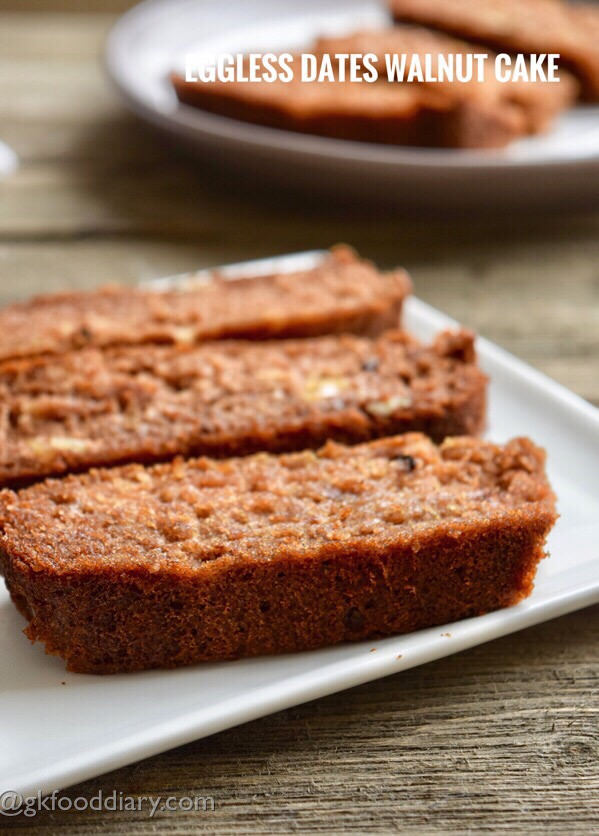 Eggless Dates Walnut Cake Recipe for Toddlers and Kids