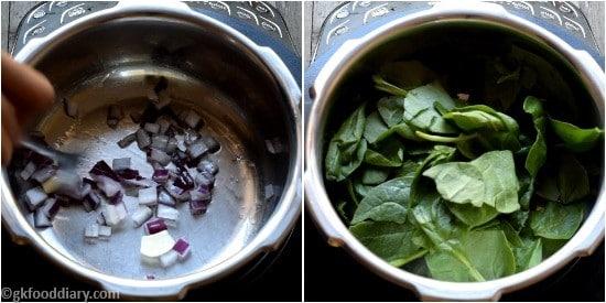 Spinach khichdi Paruppu Keerai Sadam for Babies Step 1