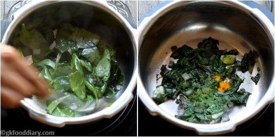 Spinach khichdi Paruppu Keerai Sadam for Babies Step 2