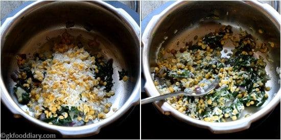 Spinach khichdi Paruppu Keerai Sadam for Babies Step 4