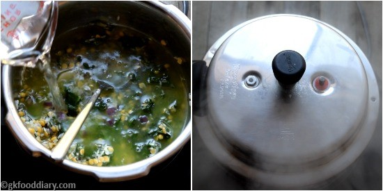 Spinach khichdi Paruppu Keerai Sadam for Babies Step 5
