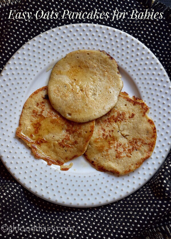 Eggless Banana Oats Pancakes Recipe for Babies