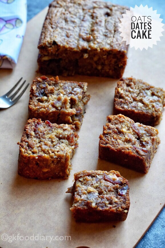 Eggless Dates Oats Cake Recipe for Toddlers