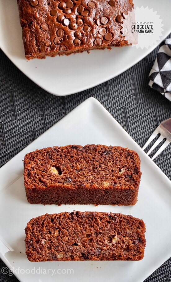 Whole Wheat Chocolate Banana Cake Recipe for Toddlers and Kids